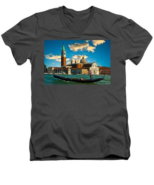Gondola And San Giorgio Maggiore Men's V-Neck T-Shirt by Harry Spitz