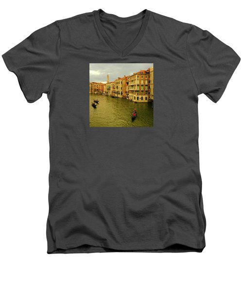 Men's V-Neck T-Shirt featuring the photograph Gondola Life by Anne Kotan
