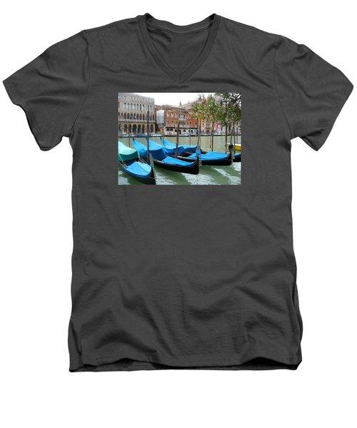 Gondolas Of Venice Men's V-Neck T-Shirt by Lisa Boyd
