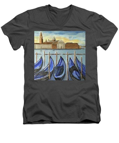 Gondolas Men's V-Neck T-Shirt by Victoria Lakes