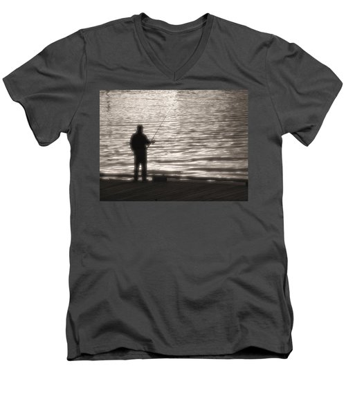 Men's V-Neck T-Shirt featuring the photograph Gone Fishing by Mark Alan Perry