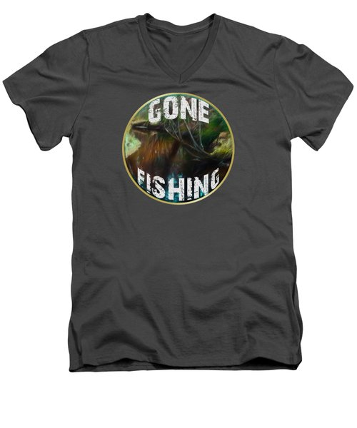 Gone Fishing Men's V-Neck T-Shirt by Mim White