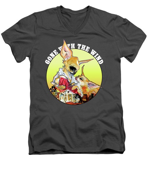 Gone With The Wind Chihuahuas Caricature Art Print Men's V-Neck T-Shirt