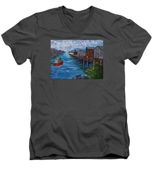 Good Day Fishing Men's V-Neck T-Shirt by Mike Caitham