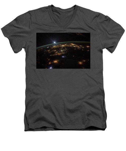 Good Morning From The International Space Station Men's V-Neck T-Shirt