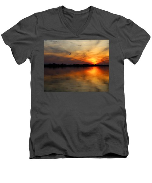 Good Morning Men's V-Neck T-Shirt by Judy Vincent