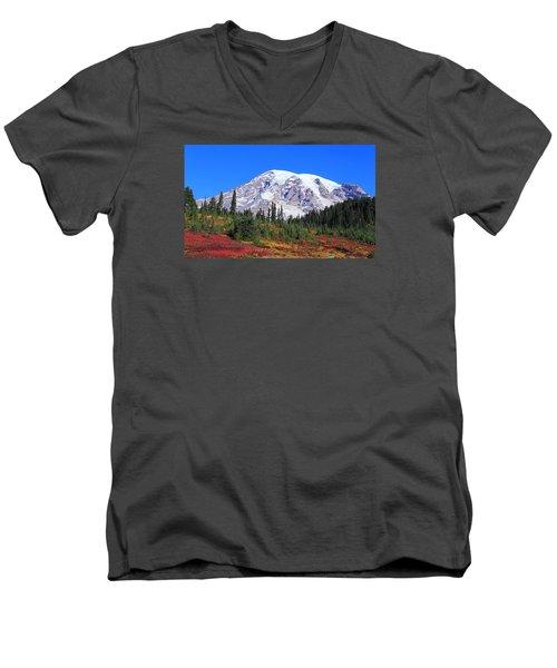Men's V-Neck T-Shirt featuring the photograph Good Morning Mount Rainier by Lynn Hopwood