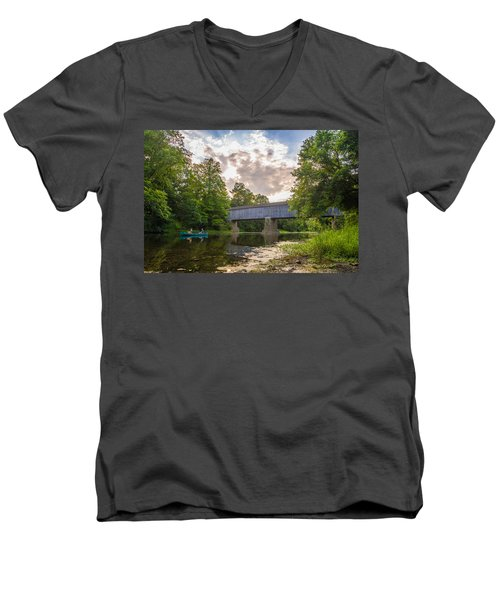 Men's V-Neck T-Shirt featuring the photograph Good To Canoe by Kristopher Schoenleber
