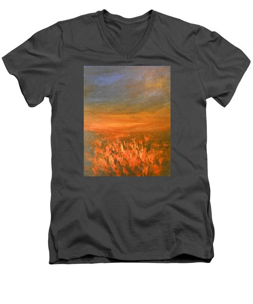 Men's V-Neck T-Shirt featuring the painting Goodbye by Jane See