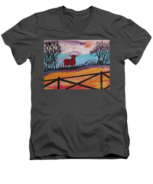 Men's V-Neck T-Shirt featuring the painting Goodbye My Lover by Jeffrey Koss