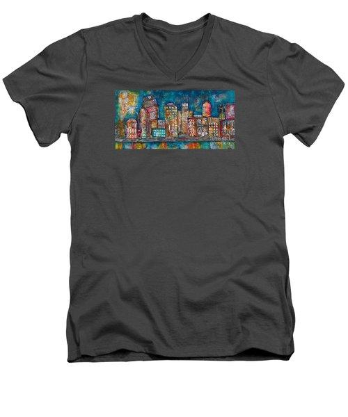 Goodnight Nashville Men's V-Neck T-Shirt by Kirsten Reed