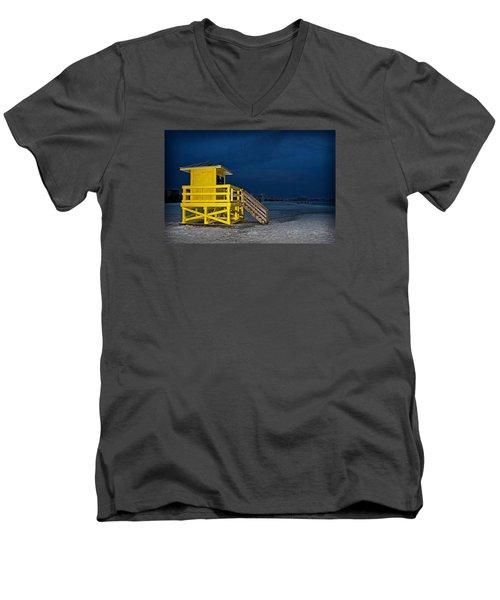 Goodnight Siesta Key Men's V-Neck T-Shirt by DJ Florek