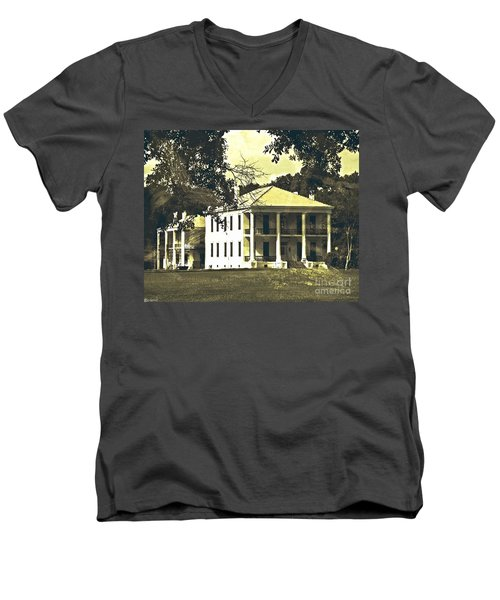 Goodwood Plantation Baton Rouge Circa 1852 Men's V-Neck T-Shirt