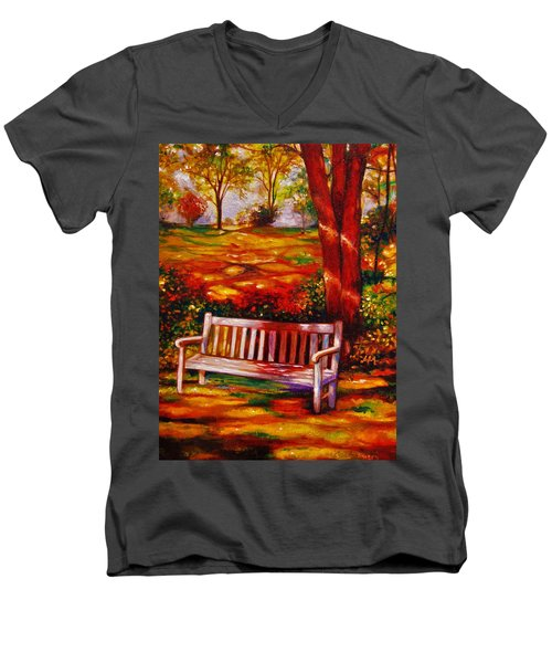 Men's V-Neck T-Shirt featuring the painting The Good Days by Emery Franklin