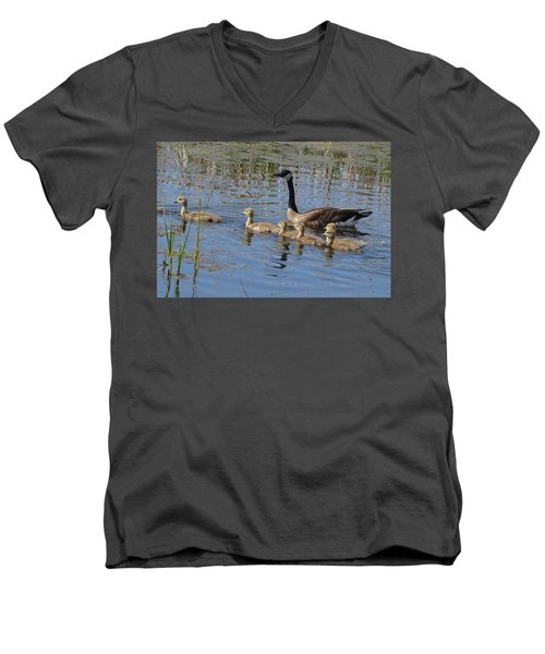 Goose And Goslings No.1867 Men's V-Neck T-Shirt by Janice Adomeit