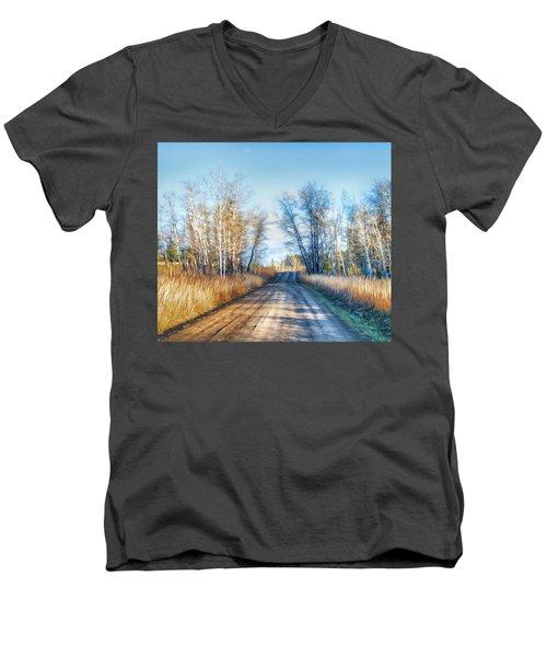 Goose Lake Road Men's V-Neck T-Shirt by Theresa Tahara