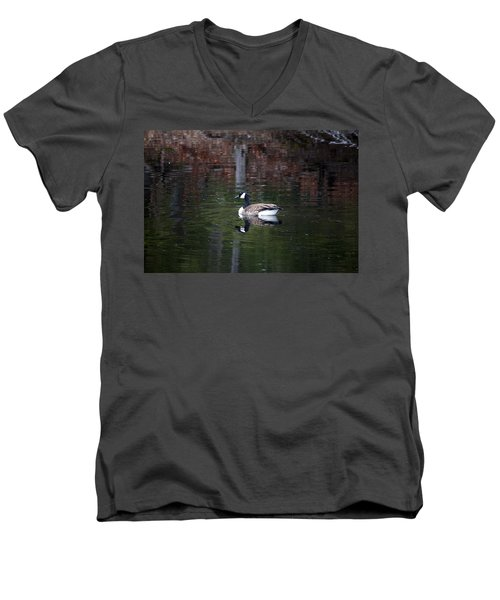 Goose On A Pond Men's V-Neck T-Shirt by Jeff Severson