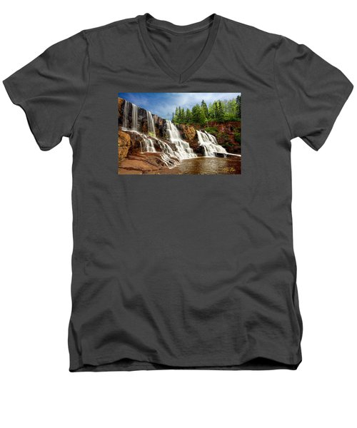 Men's V-Neck T-Shirt featuring the photograph Gooseberry Falls by Rikk Flohr