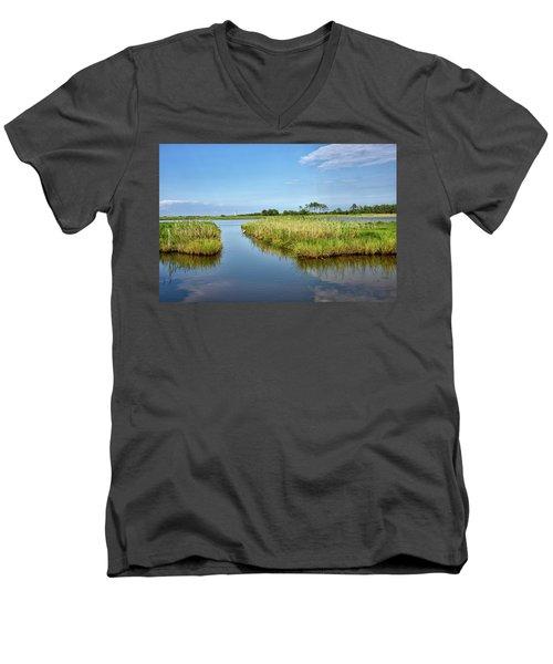 Men's V-Neck T-Shirt featuring the photograph Gordons Pond - Cape Henlopen Park - Delaware by Brendan Reals
