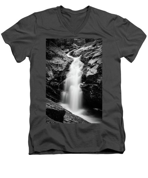 Gorge Waterfall In Black And White Men's V-Neck T-Shirt