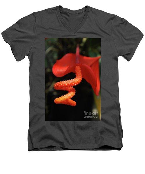 Gorgeous Orange Tropical Flower Blossom Men's V-Neck T-Shirt