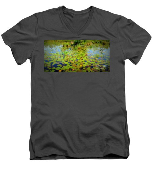 Gorham Pond Lily Pads Men's V-Neck T-Shirt by Susan Lafleur