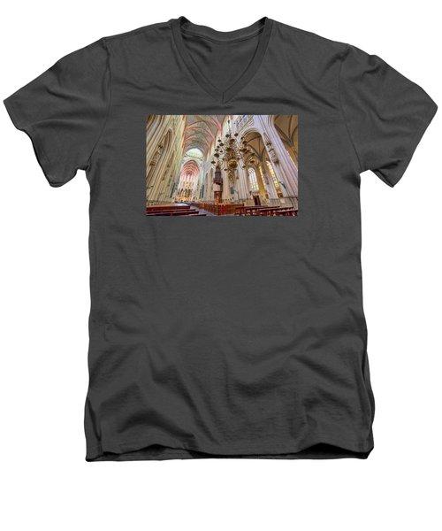 Gothic Cathedral  Men's V-Neck T-Shirt by Nadia Sanowar