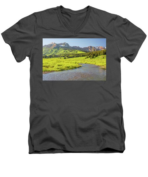 Gothic Valley - Early Evening Men's V-Neck T-Shirt by Eric Glaser