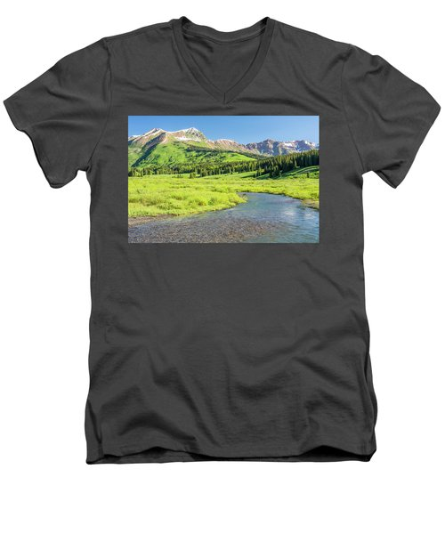 Men's V-Neck T-Shirt featuring the photograph Gothic Valley - Morning by Eric Glaser