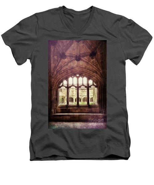 Men's V-Neck T-Shirt featuring the photograph Gothic Window by Jill Battaglia