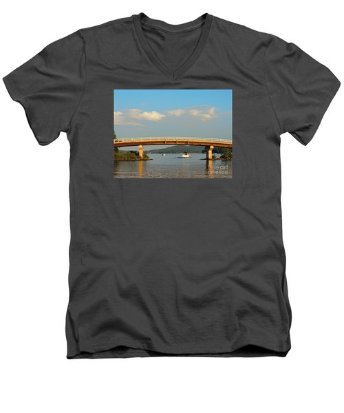 Men's V-Neck T-Shirt featuring the photograph Governor's Island Bridge by Mim White