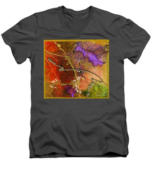 Men's V-Neck T-Shirt featuring the mixed media Grace by Angela L Walker
