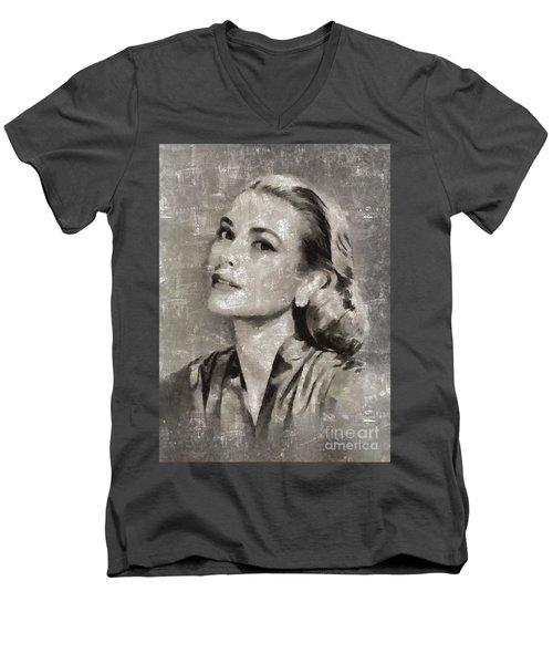 Grace Kelly By Mary Bassett Men's V-Neck T-Shirt