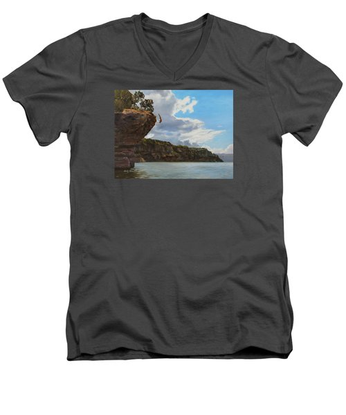 Graceful Cliff Dive Men's V-Neck T-Shirt