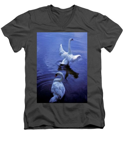 Graceful Swans Men's V-Neck T-Shirt by Marie Hicks