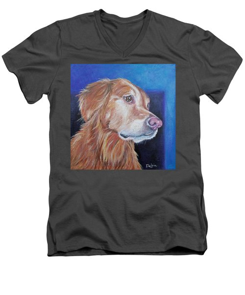 Men's V-Neck T-Shirt featuring the painting Gracie by Susan DeLain