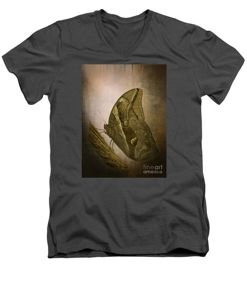 Men's V-Neck T-Shirt featuring the photograph Graffic Owl Butterfly by Inge Riis McDonald