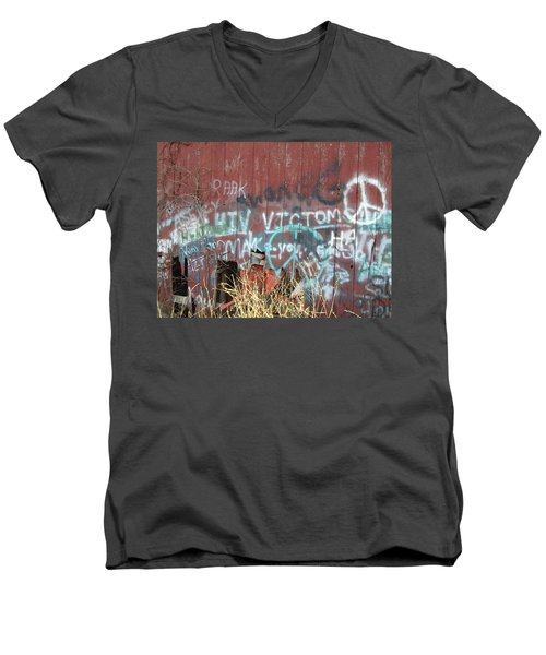 Men's V-Neck T-Shirt featuring the photograph Graffiti by Cynthia Lassiter
