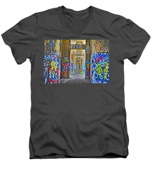 Grafiti Bridge To Nowhere Men's V-Neck T-Shirt