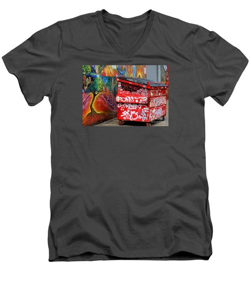 Men's V-Neck T-Shirt featuring the photograph Grafitti And Trash by Ranjini Kandasamy