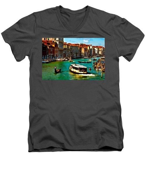 Grand Canal Daytime Men's V-Neck T-Shirt by Harry Spitz