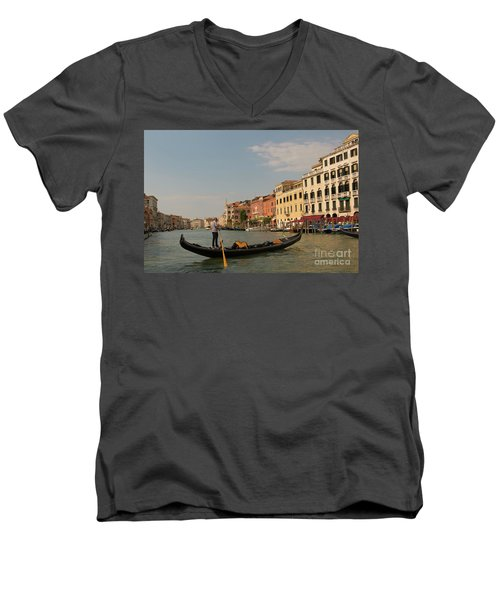 Grand Canal Gondola Men's V-Neck T-Shirt by Loriannah Hespe