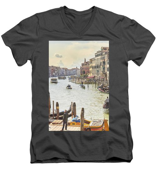 Grand Canal - The Most Famous Canal In Venice Men's V-Neck T-Shirt