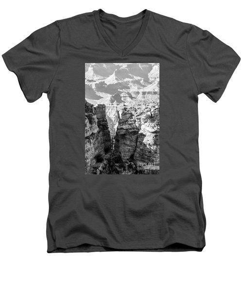 Men's V-Neck T-Shirt featuring the photograph Grand Canyon Bw Impression by Juergen Klust