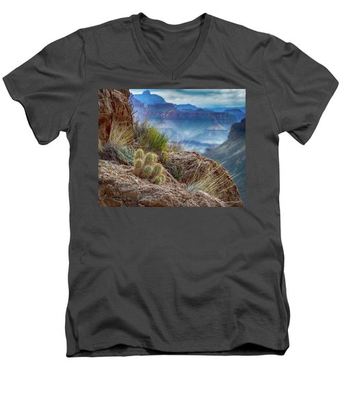 Men's V-Neck T-Shirt featuring the photograph Grand Canyon Cactus by Phil Abrams