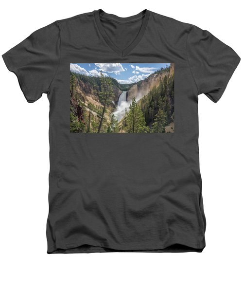 Grand Canyon Of Yellowstone Men's V-Neck T-Shirt by Alpha Wanderlust