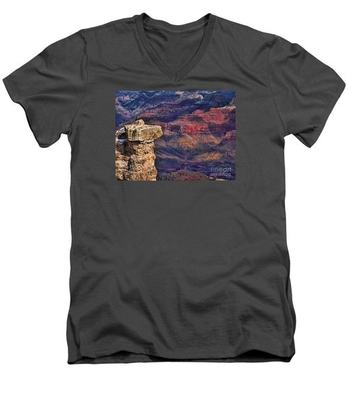 Men's V-Neck T-Shirt featuring the photograph Grand Canyon Stacked Rock by Roberta Byram