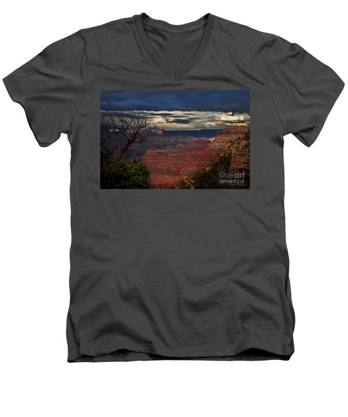 Men's V-Neck T-Shirt featuring the photograph Grand Canyon Storm Clouds by John A Rodriguez