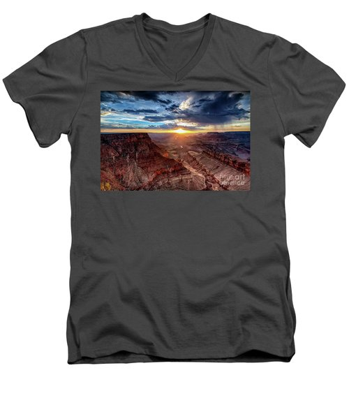 Grand Canyon Sunburst Men's V-Neck T-Shirt