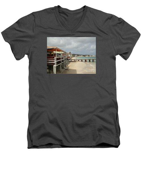 Grand Case Pier Men's V-Neck T-Shirt by Margaret Brooks